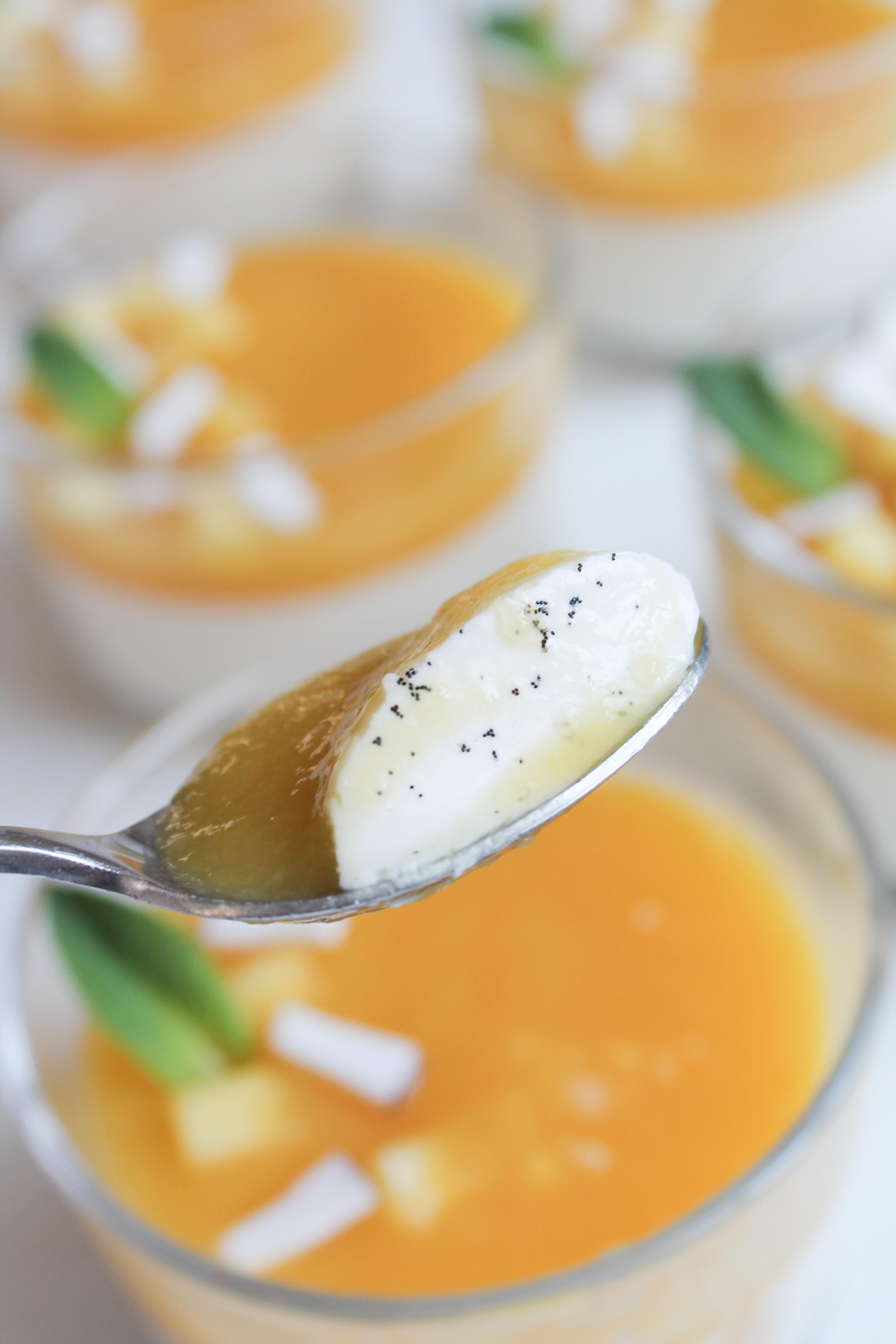 Panna cotta express vanille mangue - Panna cotta sans gelatine ...