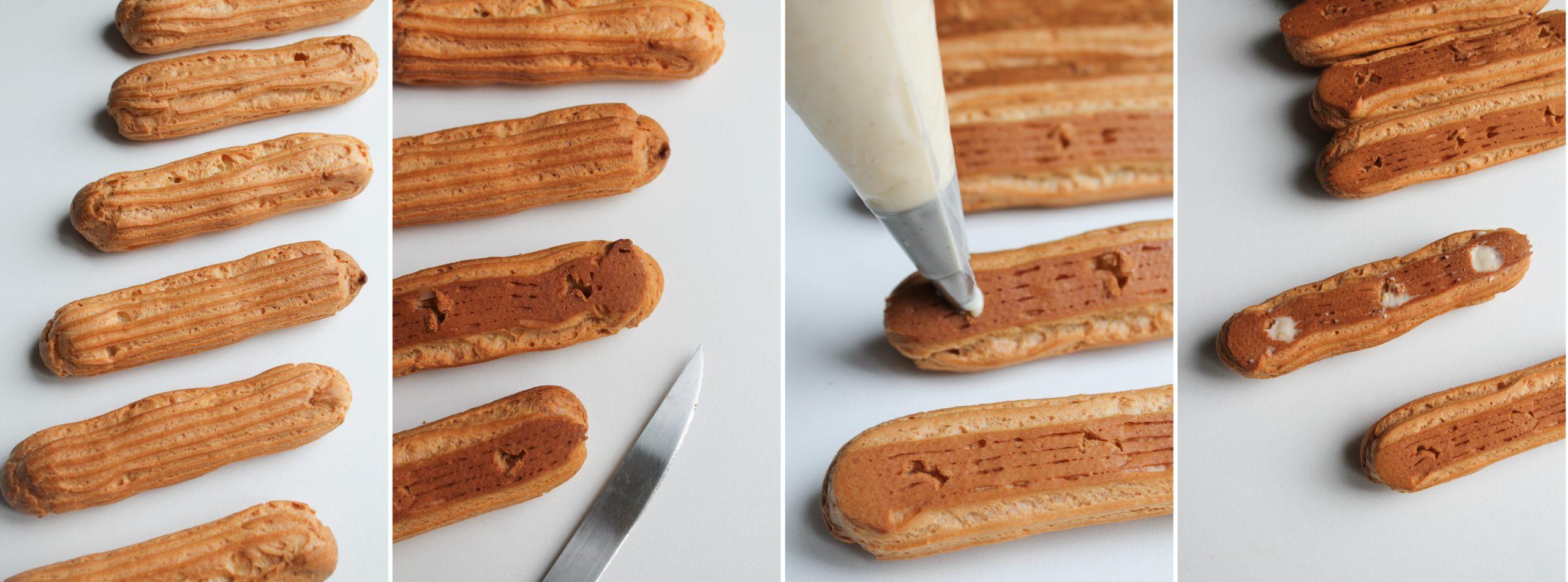 étapes recette éclairs vanille