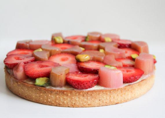 recette tarte fraise rhubarbe pistache